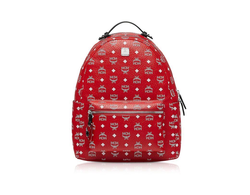 b46f81dd1 MCM Viva Red Stark Backpack W/white Logo Visetos 40 in Red for Men - Save  59% - Lyst