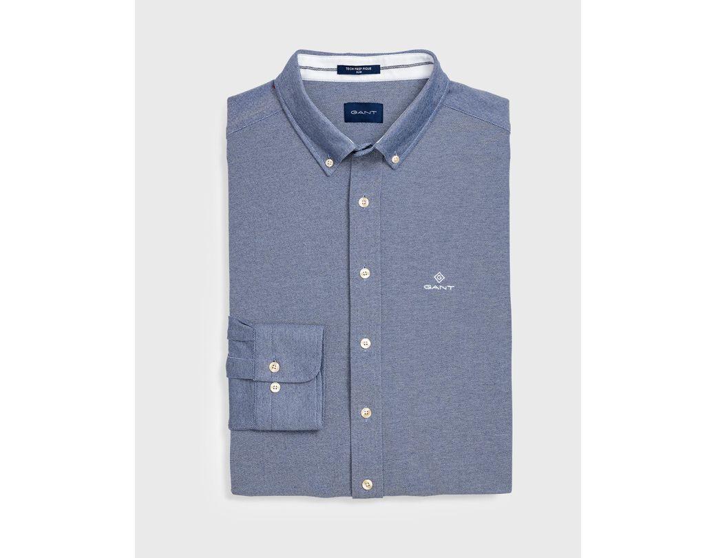 86699608899 GANT Slim Tech Prep Piqué Shirt in Blue for Men - Lyst