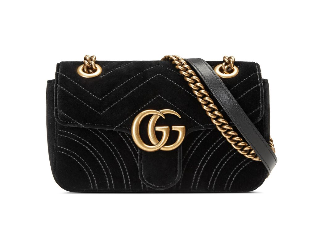 464f103f6e5 Long-Touch to Zoom. Long-Touch to Zoom. 1  2. Gucci - Black GG Marmont  Velvet Mini Shoulder Bag ...