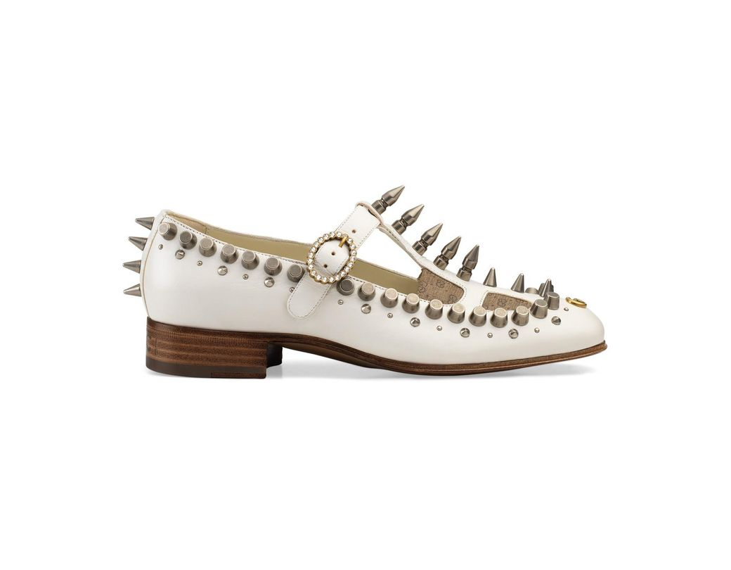 177a71d2cb9 Lyst - Gucci Marcel Studded Leather Loafers in White
