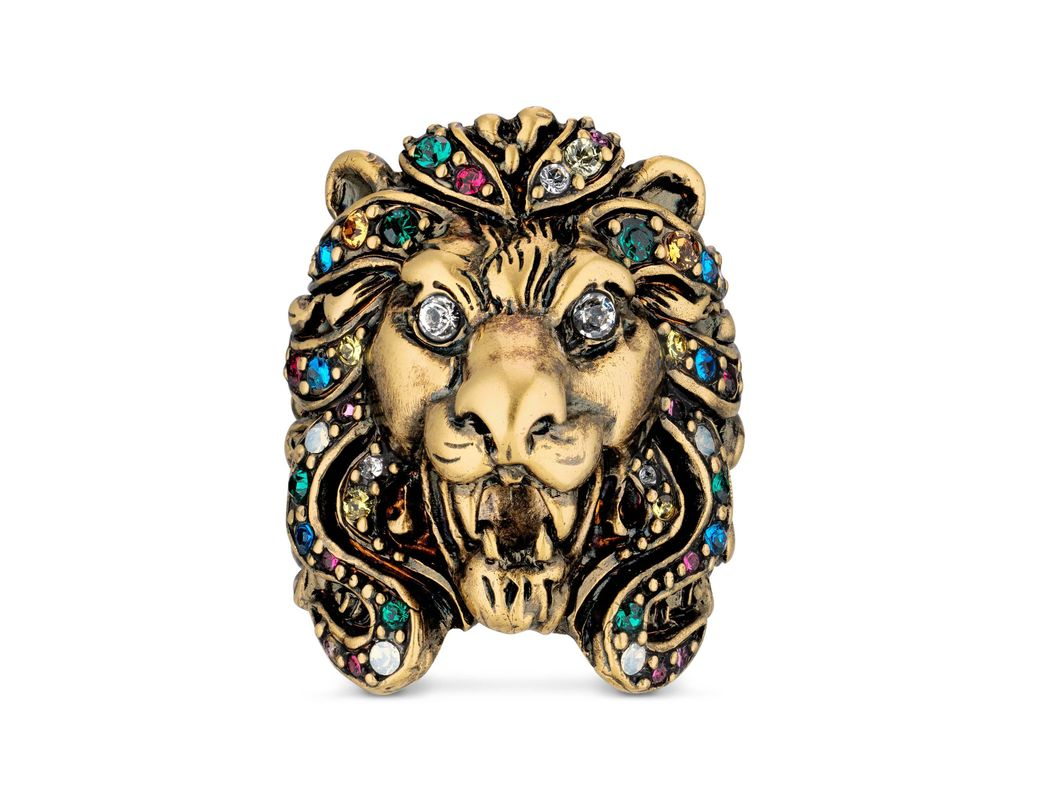 ef1516231 Gucci. Women's Metallic Lion Head Ring With Multicolour Crystals