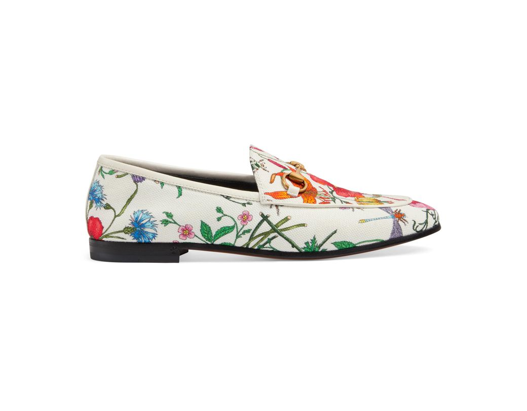 250c63ee42c Gucci Jordaan Floral Print Loafers in White - Save 30% - Lyst