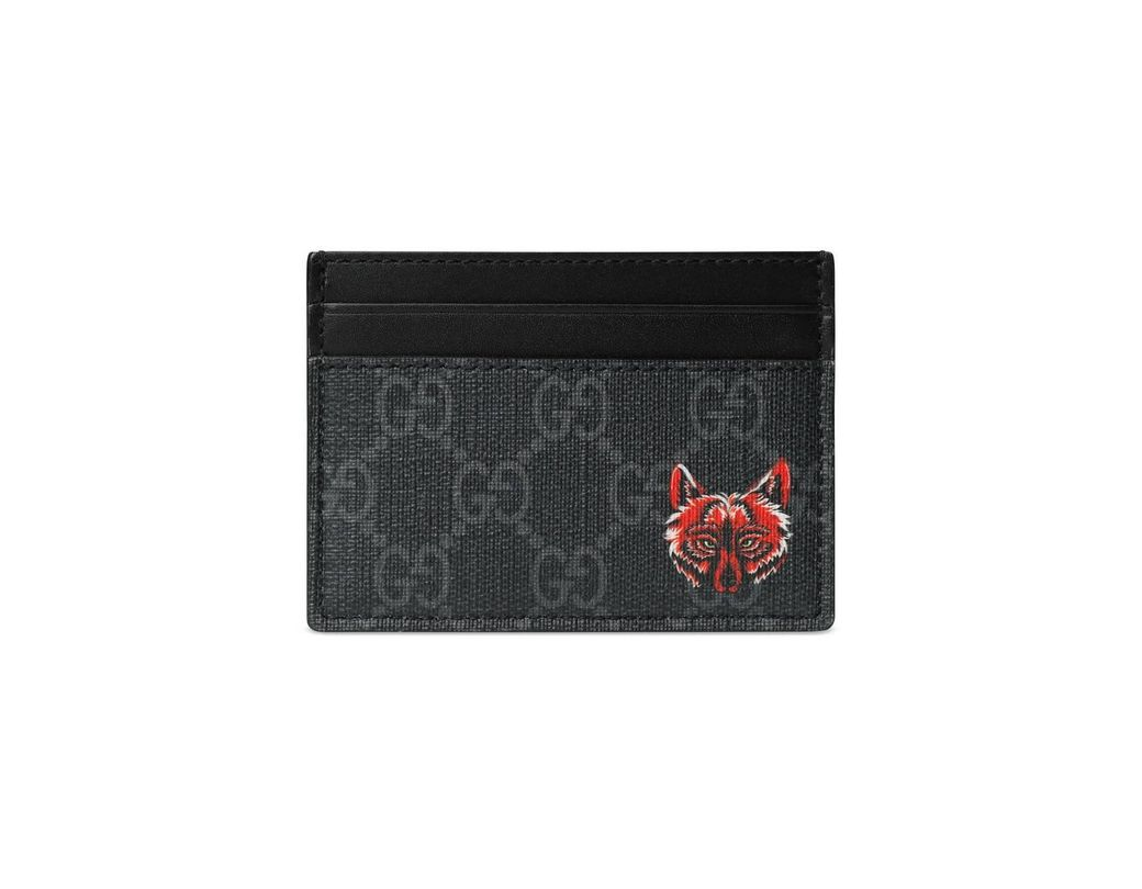 e1349fb751e Lyst - Gucci GG Card Case With Wolf Head in Black for Men - Save 16%