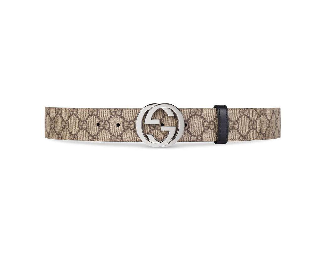 01247621d321a Lyst - Gucci Reversible GG Supreme Belt in Black for Men