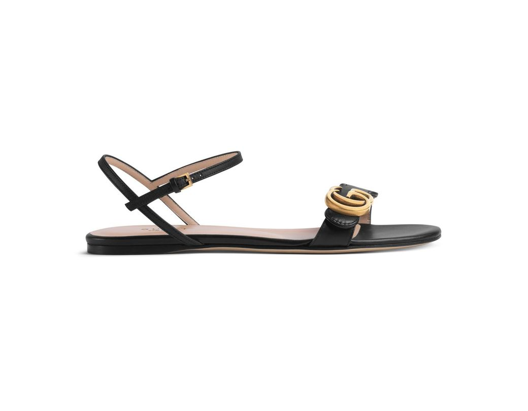 a3979e8a3df Lyst - Gucci Leather Double G Sandal in Black