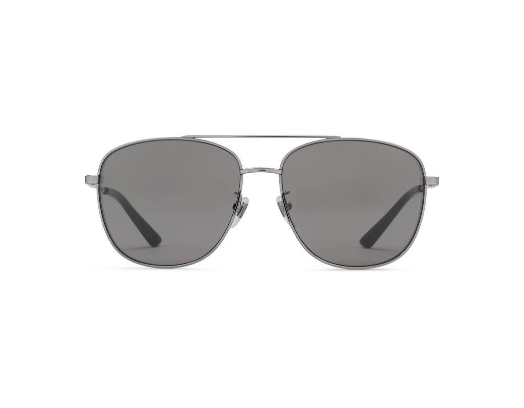 492e9e84cae Lyst - Gucci Navigator Metal Sunglasses in Gray for Men