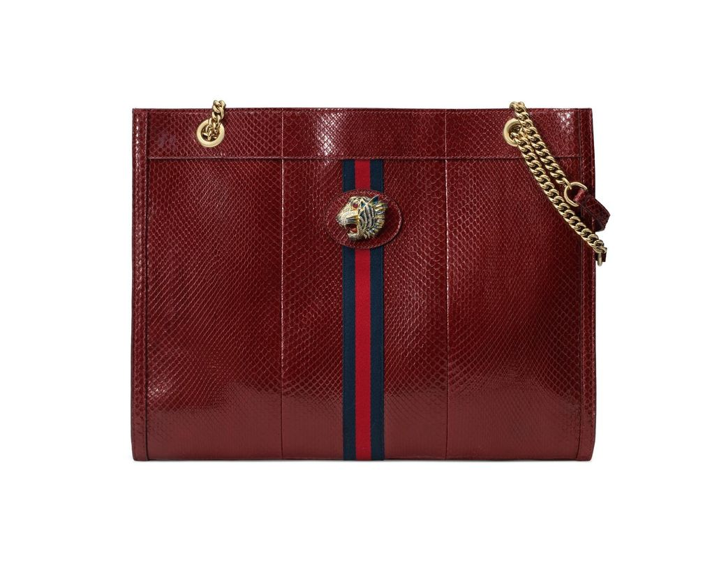 94faf49b396b Lyst - Gucci Rajah Large Python Tote in Red - Save 18%