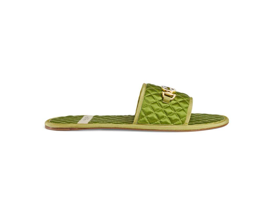 f11820df9 Gucci Men's Slide Sandal With Interlocking G Horsebit in Green for ...