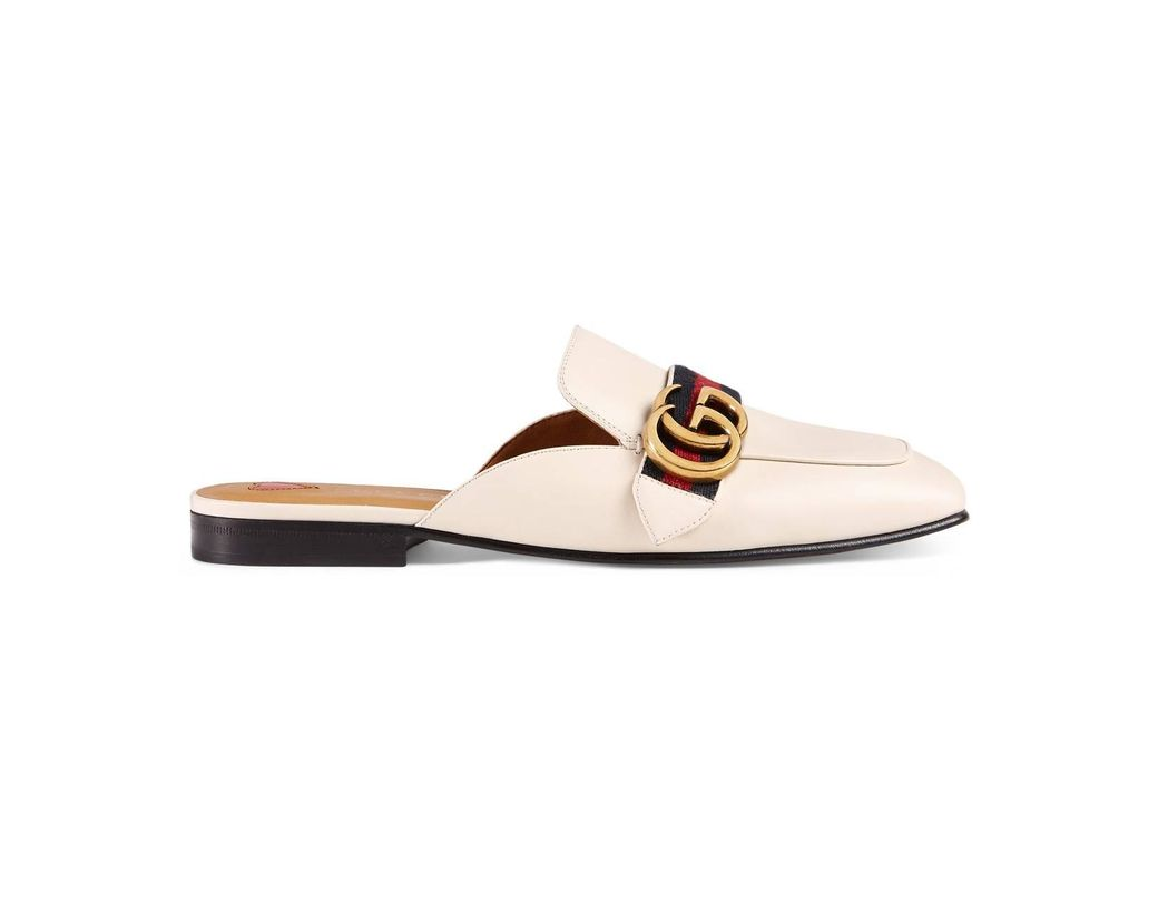 d55206a18d6 Lyst - Gucci Leather Slipper in White