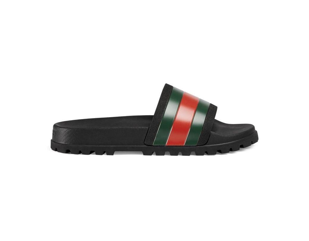 f3f2a293639 Lyst - Gucci Web Slide Sandal in Black for Men