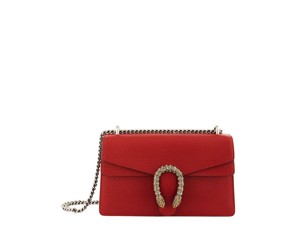 82f759e2ab7 Lyst - Gucci Small Leather Dionysus Shoulder Bag in Red - Save 13%
