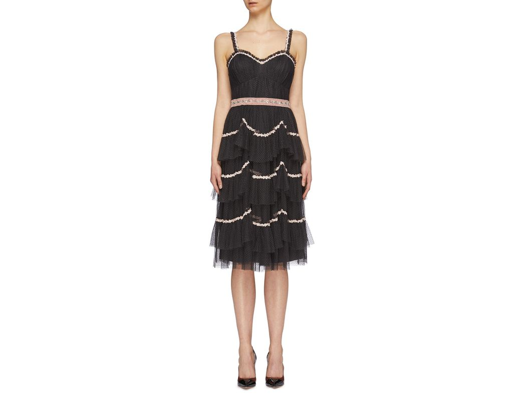 762c25291c Needle   Thread  venetian Scallop  Floral Trim Tiered Tulle Dress in Black  - Lyst