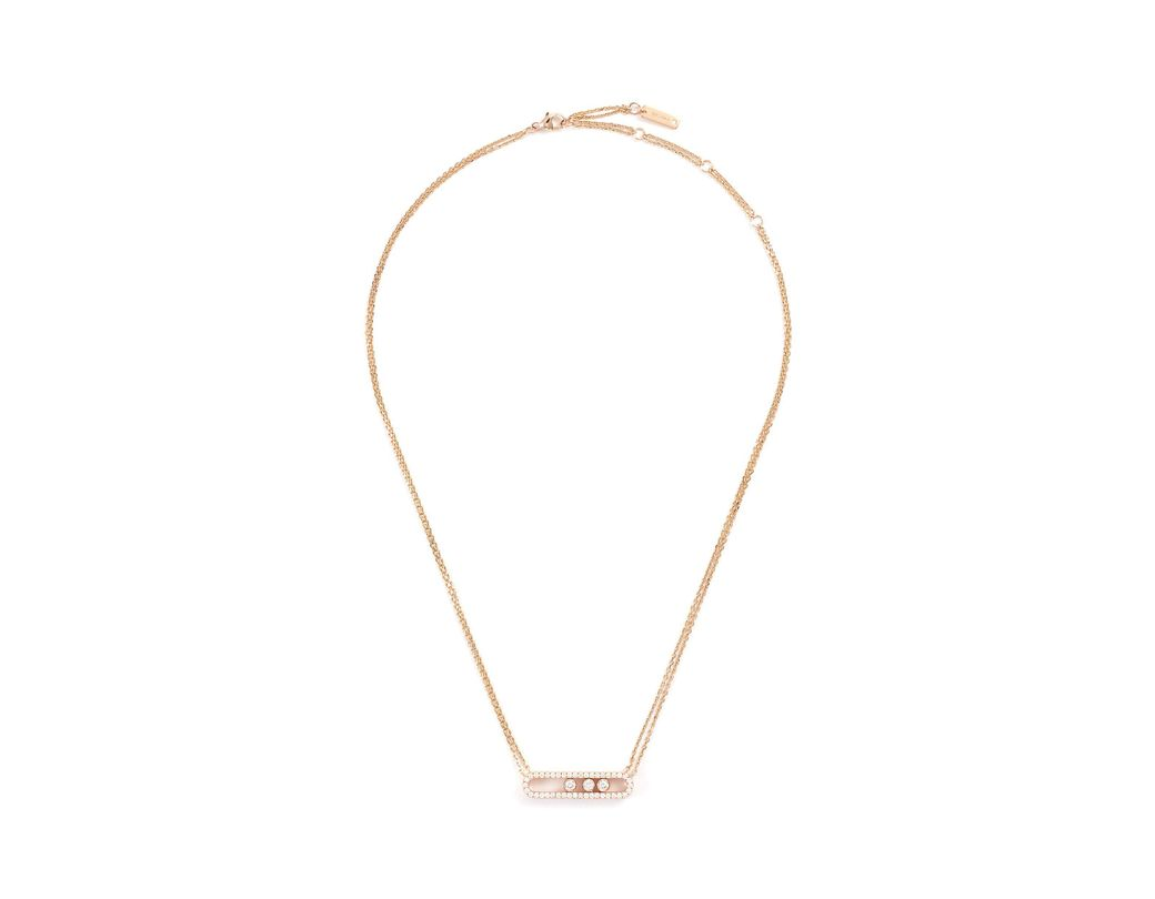 9e8a01c354ba1a Messika 'move Pavé' Diamond 18k Rose Gold Necklace in Metallic - Save 11% -  Lyst