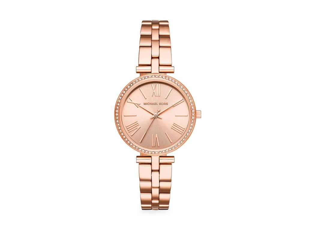 4d9eb3db63e8 Long-Touch to Zoom. Long-Touch to Zoom. 1  2  3. Michael Kors - Metallic  Three-hand Rose Goldtone Stainless Steel Watch ...