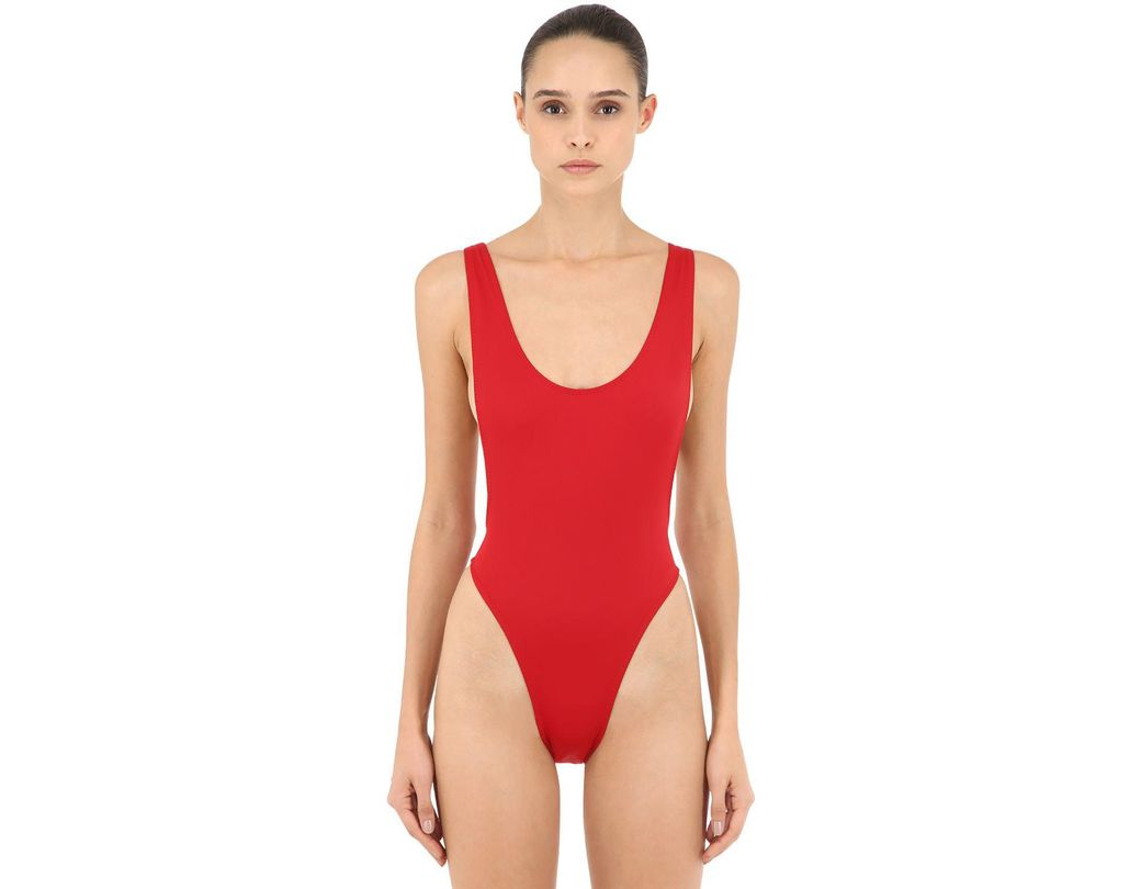 542e7896a23 Lyst - Norma Kamali Marissa Lycra One Piece Swimsuit in Red
