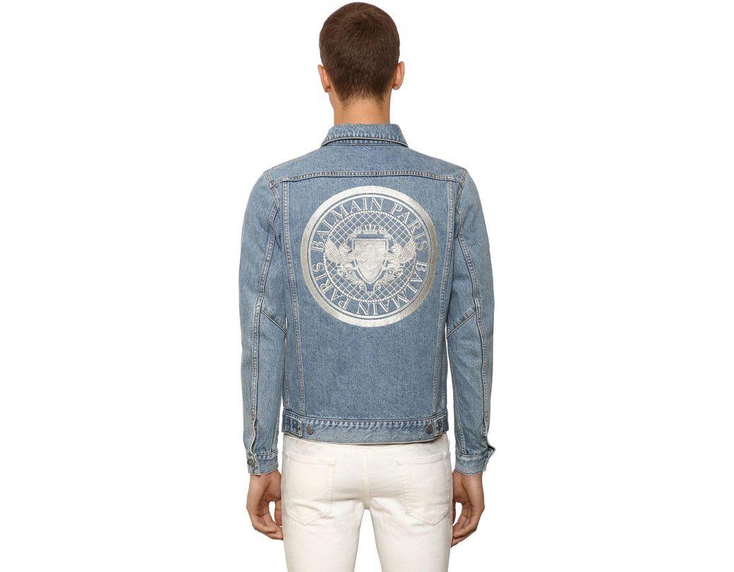 d57b80e5 Balmain Embroidered Cotton Denim Jacket in Blue for Men - Lyst