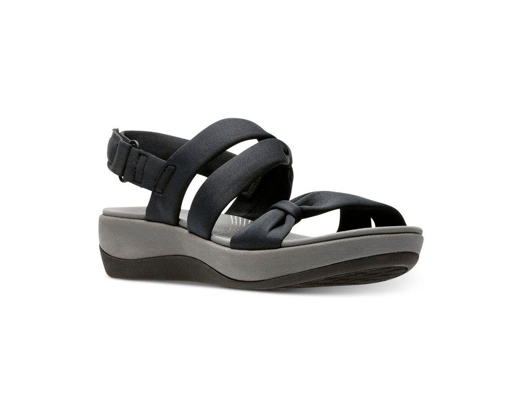 7294c9976db5 Lyst - Clarks Cloudsteppers Arla Mae Wedge Sandals in Black