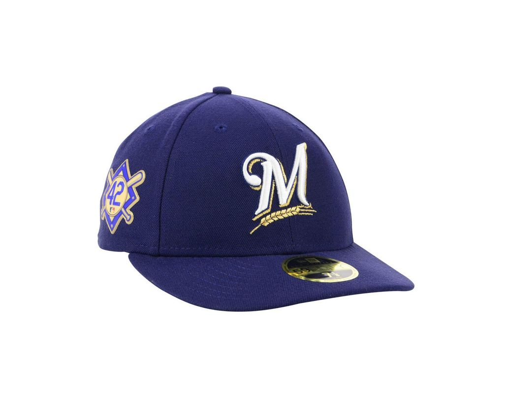 promo code 8233c 4a31e KTZ Milwaukee Brewers Jackie Robinson Day Low Profile 59fifty Fitted Cap in  Blue for Men - Lyst