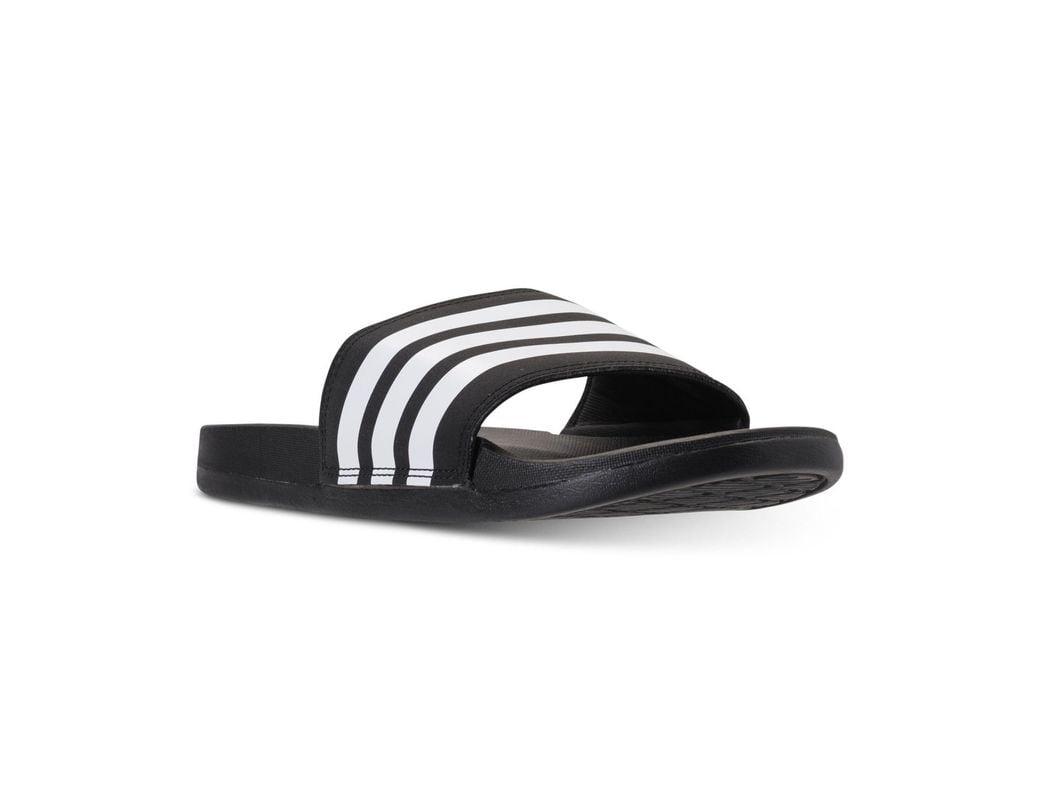 fc2be6061 Lyst - adidas Adilette Cloudfoam Plus Stripes Slides in Black - Save 45%