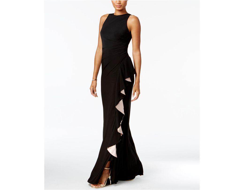 2ae1a16b936 Betsy   Adam Contrast-ruffle Gown in Black - Lyst
