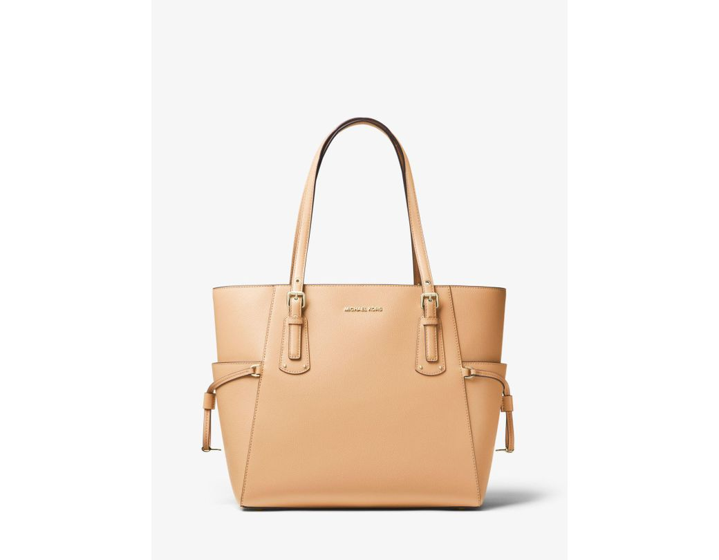 7a22bcf69750d4 MICHAEL Michael Kors. Women's Natural Voyager Small Crossgrain Leather Tote  Bag