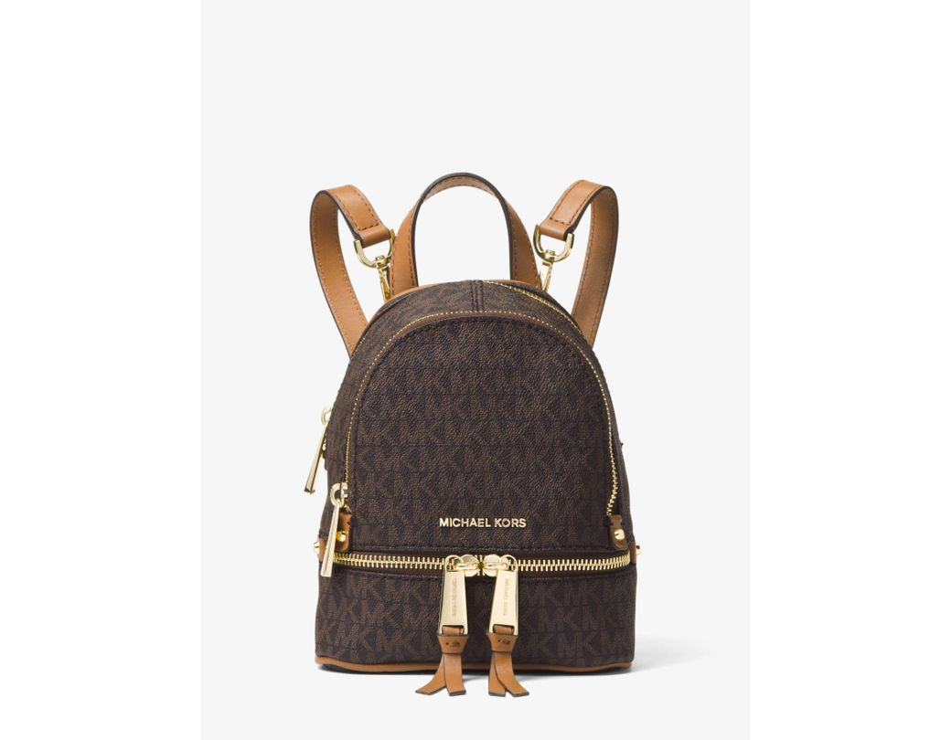 052bf7aeceab Michael Kors Rhea Mini Logo Backpack in Brown - Lyst
