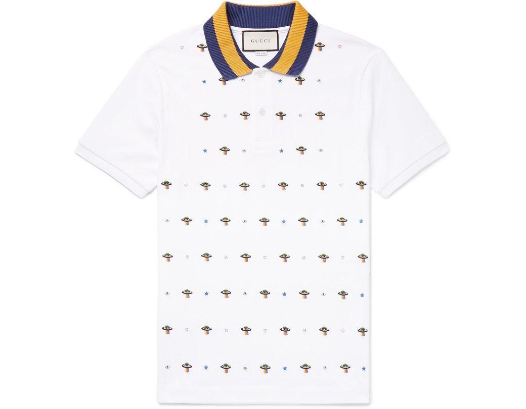 8e5ca2f7737 Gucci Slim-fit Ufo-embroidered Stretch-cotton Piqué Polo Shirt in ...