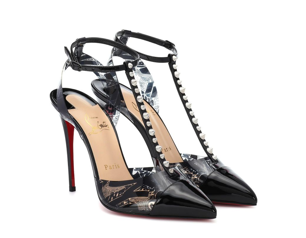c059ec0c9315 Lyst - Christian Louboutin Nosy Spikes Pvc And Leather Pumps in Black