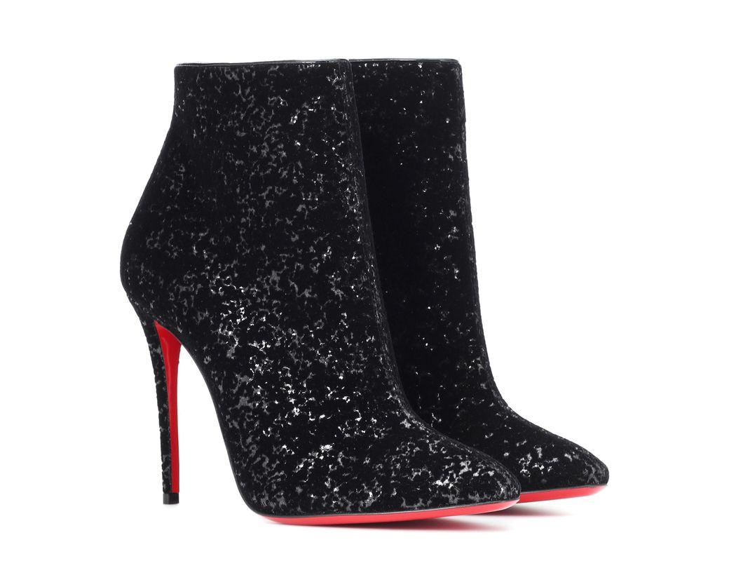 4343b940bb7b Lyst - Christian Louboutin Eloise 100 Glitter Ankle Boots in Black