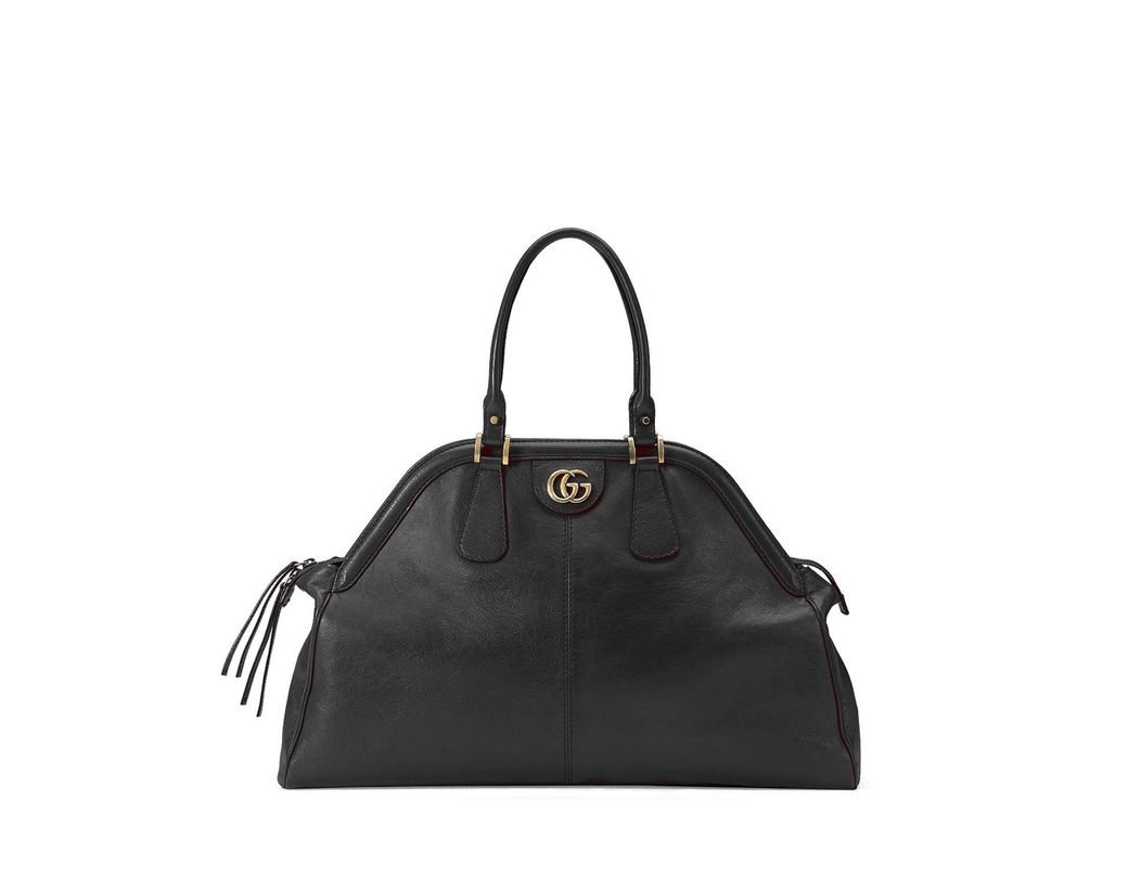 a79b9021dc34 Lyst - Gucci Re(belle) Large Leather Top Handle Bag in Black
