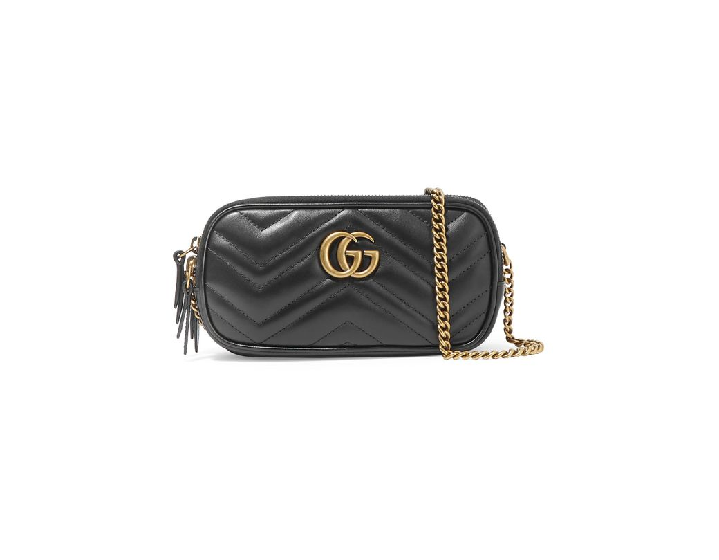 608078bc92e Gucci Gg Marmont Mini Quilted Leather Shoulder Bag in Black - Lyst