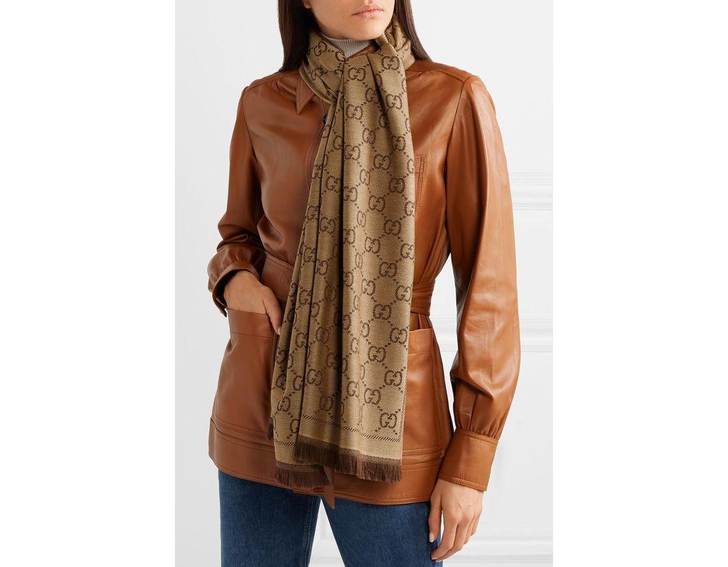 959b9631842 Gucci Sten Reversible Intarsia Wool Scarf in Brown - Lyst