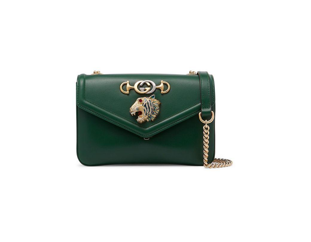 ba743e29d862 Gucci Rajah Small Embellished Leather Shoulder Bag in Green - Save ...