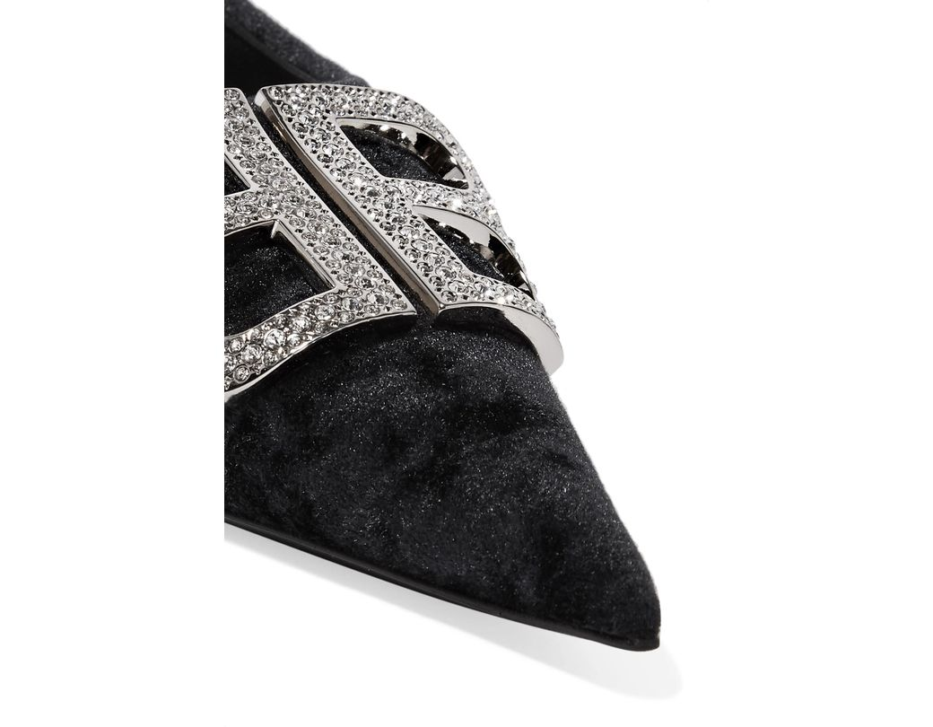 f879f2e8b9 Balenciaga Knife Logo-embellished Crushed-velvet Point-toe Flats in Black -  Lyst