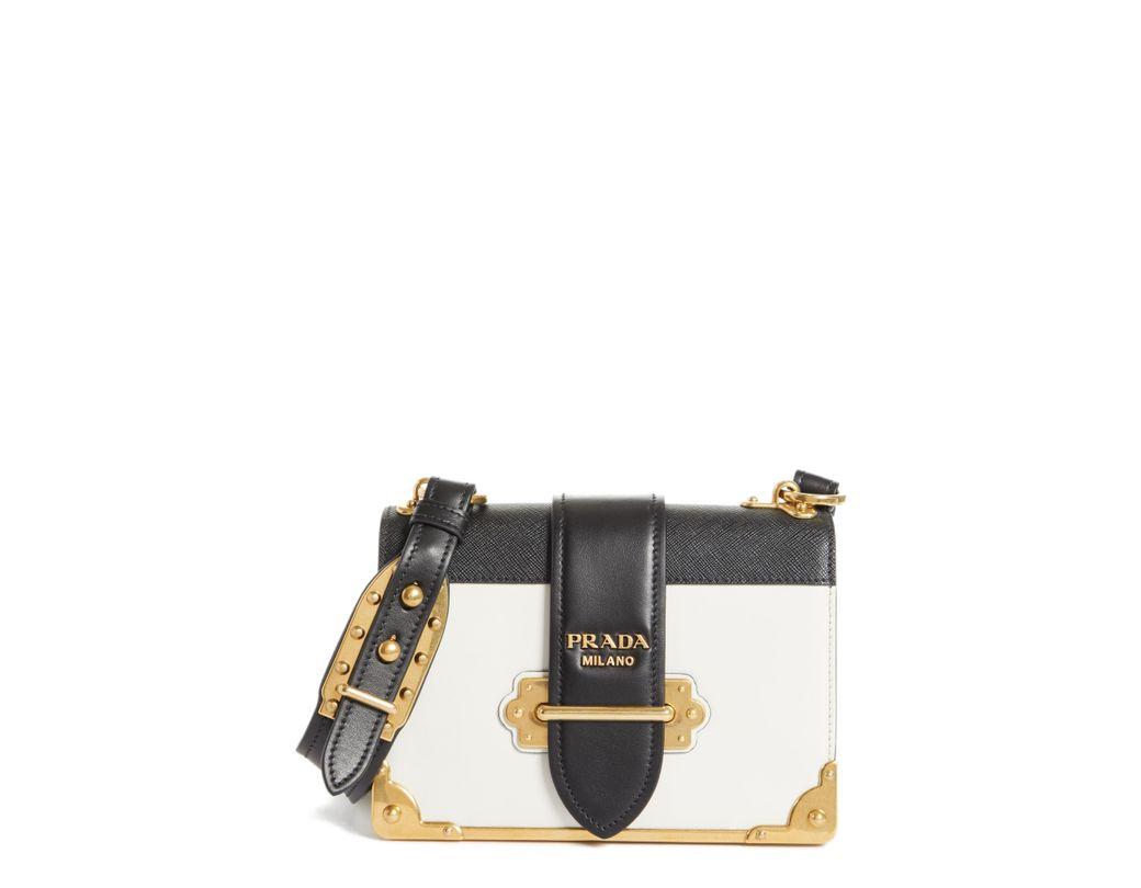 bee4823fa016 Lyst - Prada Cahier City Calfskin   Saffiano Shoulder Bag - in Black