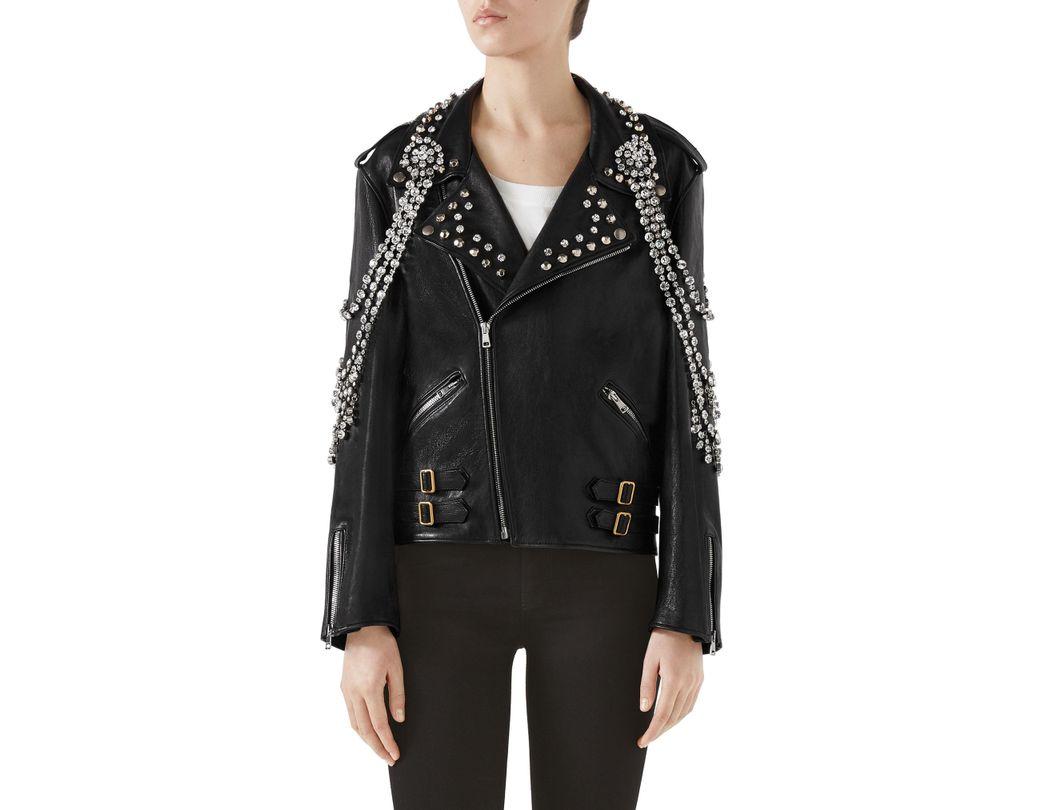 1e6ab2adc110 Lyst - Gucci Back Logo Crystal Embellished Biker Jacket in Black