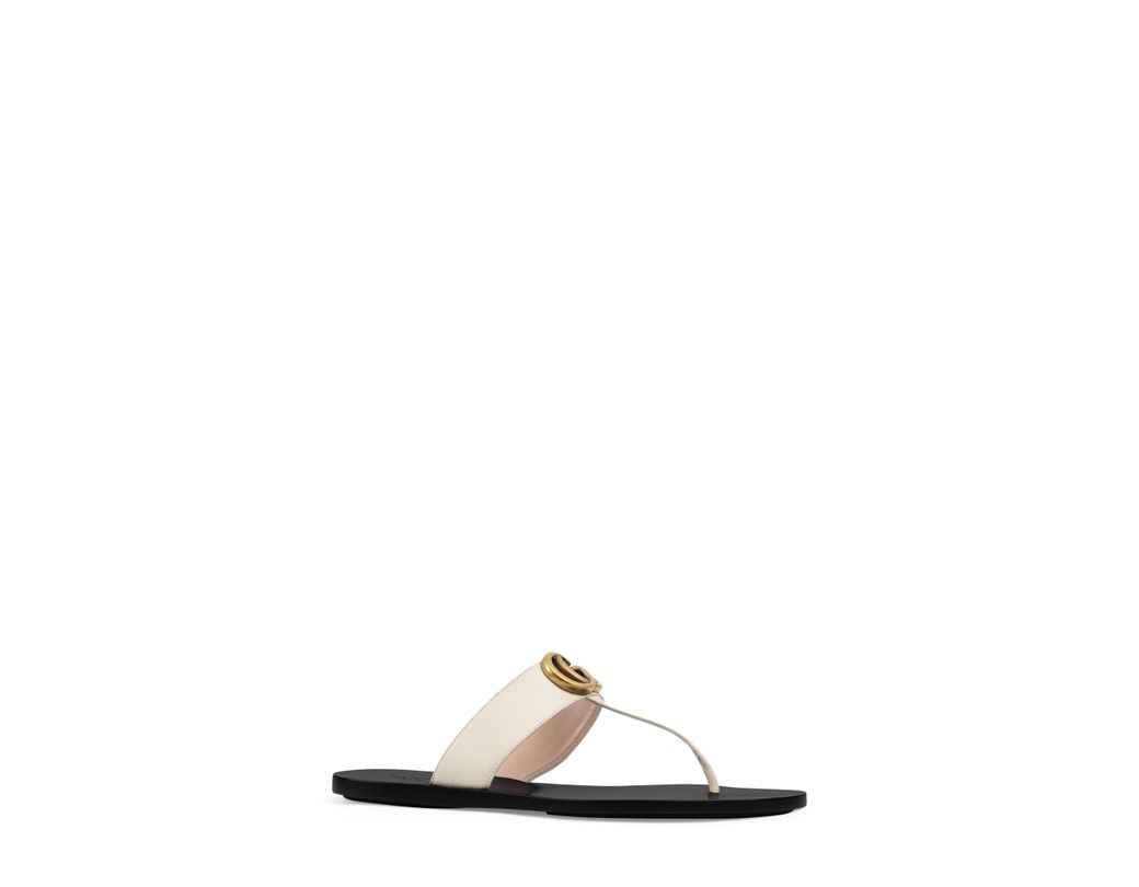 3f46704bbbf Lyst - Gucci Leather Thong Sandals With Double G in White - Save 22%
