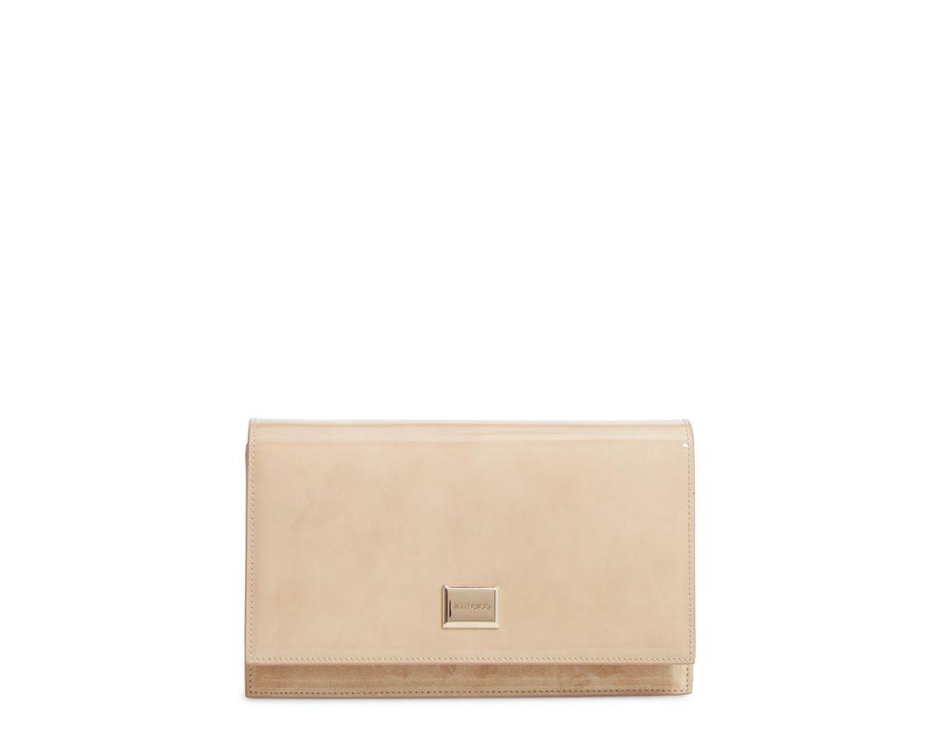 da452d505a3 Lyst - Jimmy Choo Lizzie Patent Leather & Suede Clutch in Natural