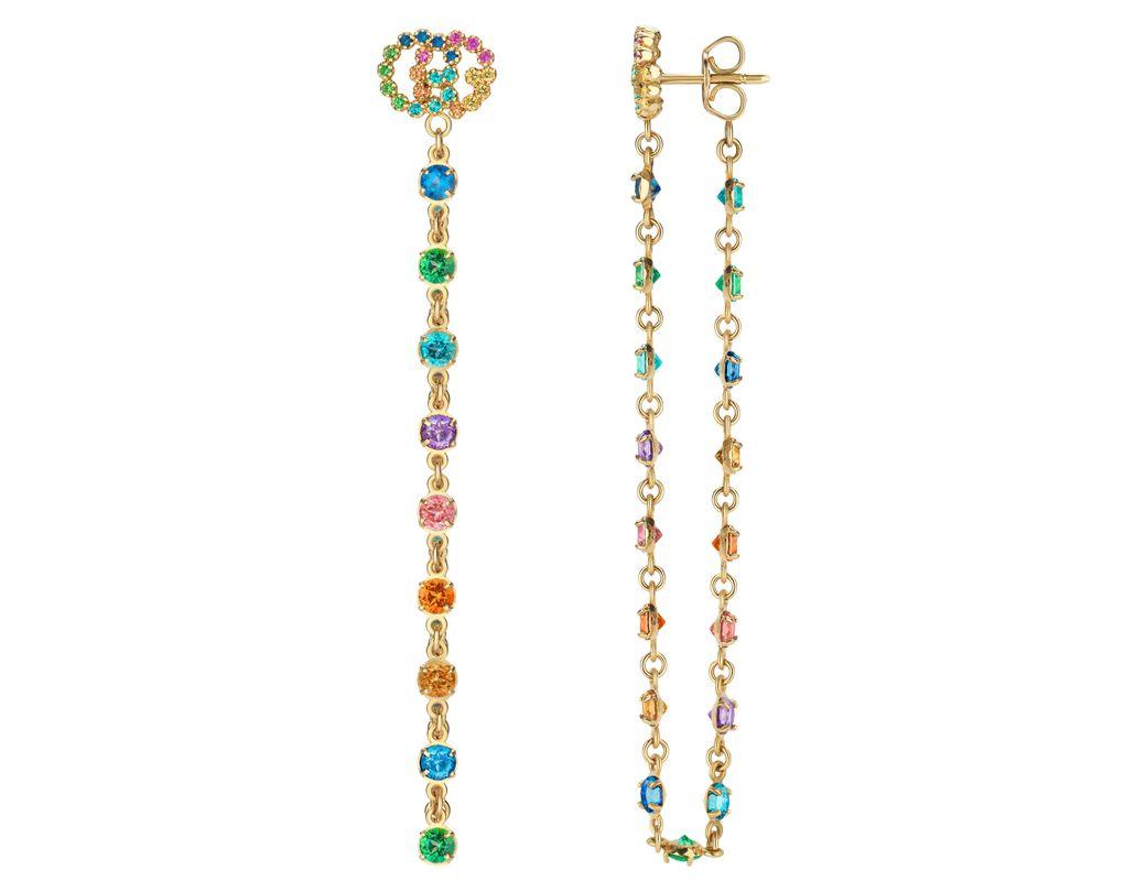 2bc1fb5feee Lyst - Gucci Double-g Multistone Chain Stud Earrings in Metallic ...