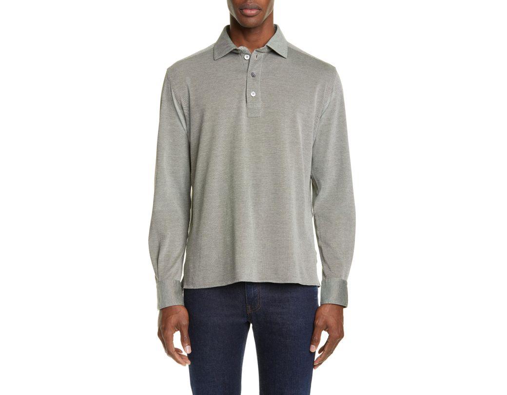 106e2ea98a978 Lyst - Ermenegildo Zegna Regular Fit Long Sleeve Cotton Knit Polo in ...
