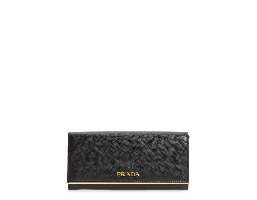 334cab35de47 Lyst - Prada Metal Bar Saffiano Leather Continental Wallet -