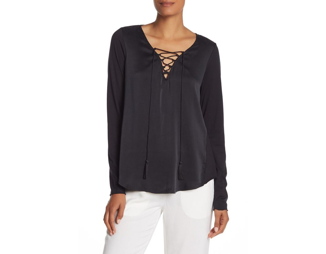78ac2073b6be51 Go> By Go Silk Get Unlaced Silk Blouse in Black - Lyst
