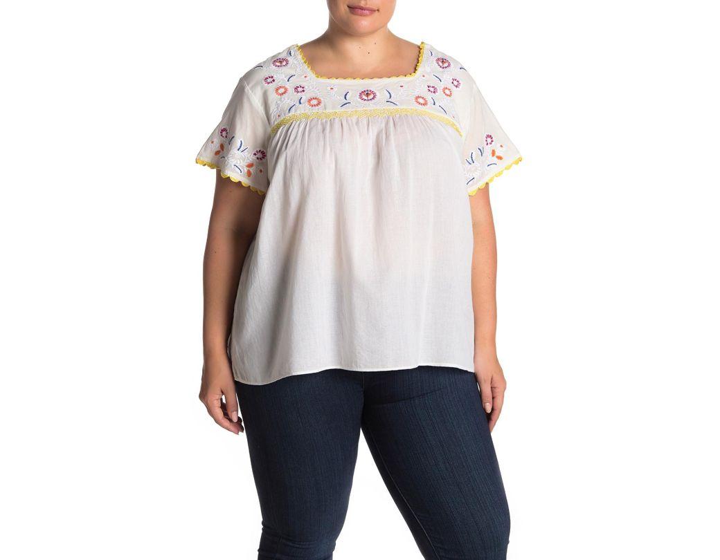 Lyst Catherine Malandrino Short Sleeve Embroidered Blouse Plus
