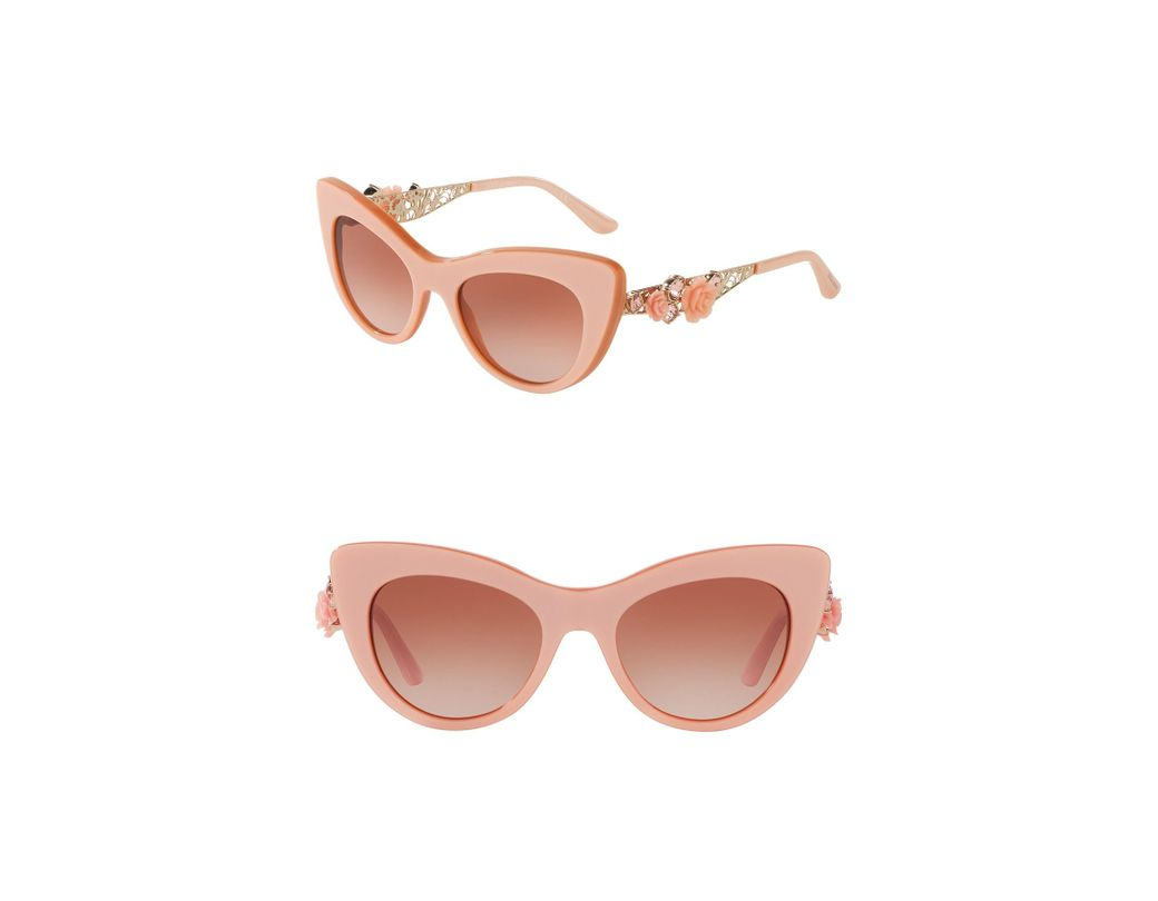 350a5821aea Lyst - Dolce   Gabbana 52mm Flowers Lace Cat Eye Sunglasses in Pink