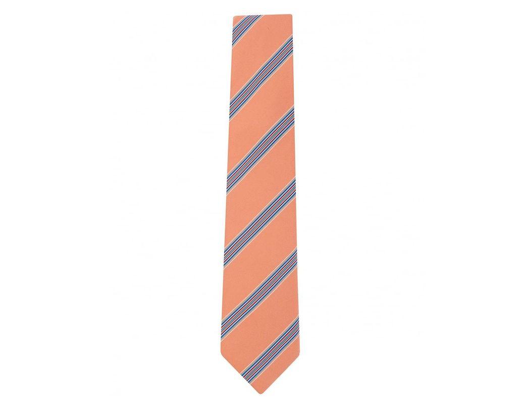 Lyst - Paul Smith Diagonal Mixed Width Stripe Tie in Orange