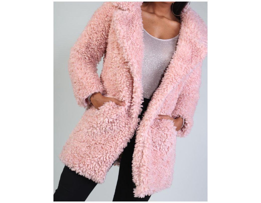fbd3af9ba00 Public Desire Pink Collar Teddy Faux Fur Coat in Pink - Lyst
