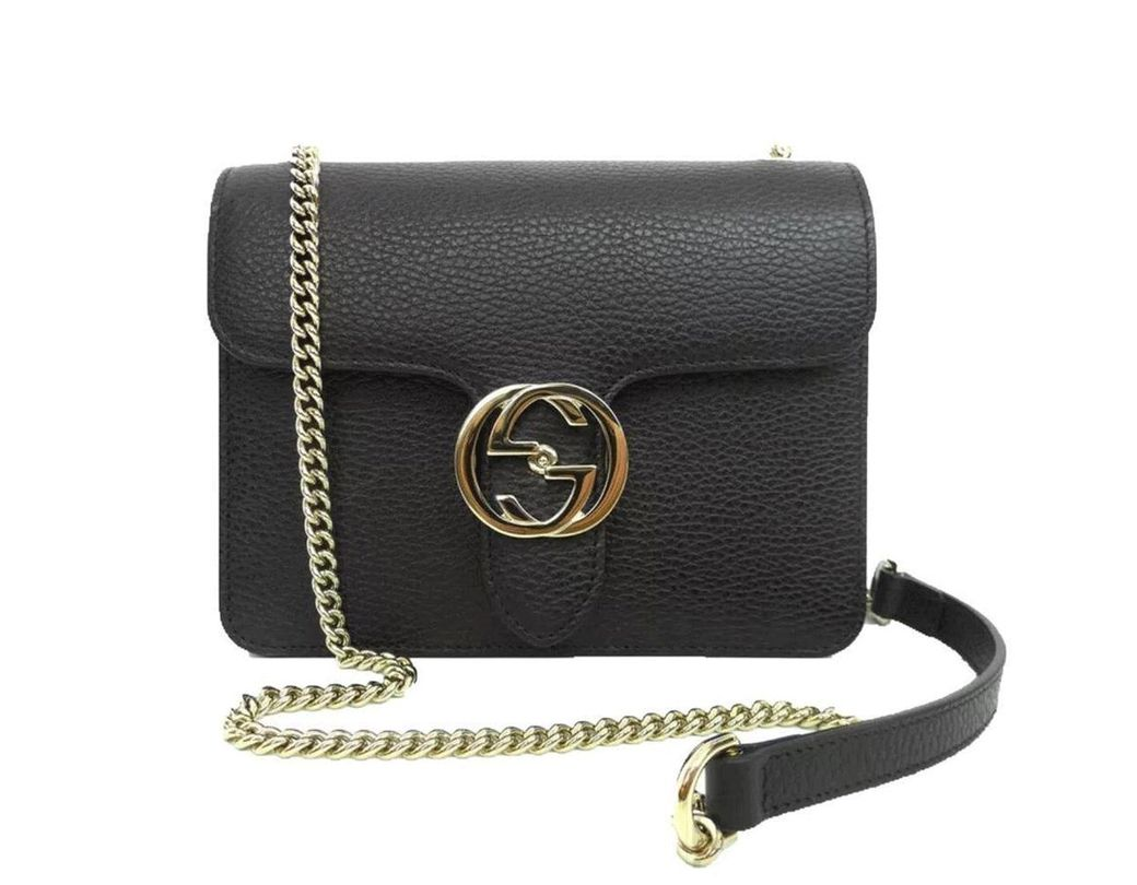 c12536f2be2 Lyst - Gucci Black Leather Marmont Interlocking GG Crossbody Bag in ...