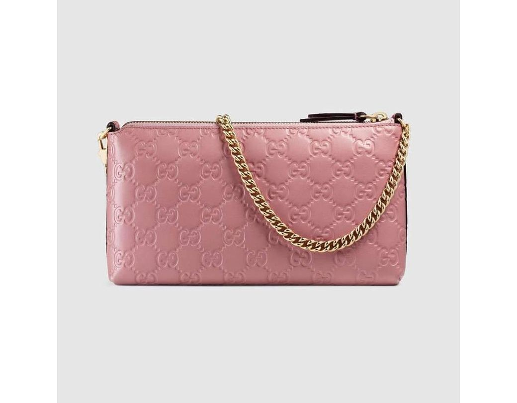 b8b6fbb7f6a711 Gucci Signature Pink Leather Wristlet Wallet in Pink - Lyst