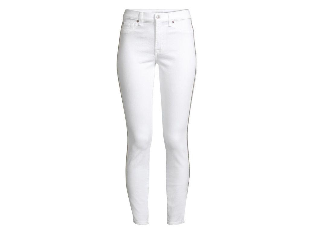 e8b358277fab Lyst - 7 For All Mankind Women's Stretch Ankle Skinny Jeans - White ...