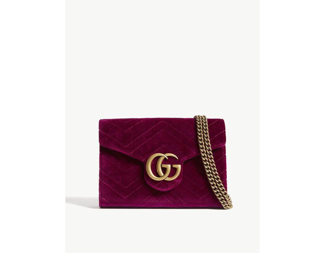 51754fe33ac Lyst - Gucci Ladies Fuschia Pink Marmont Gg Velvet Wallet-on-chain ...
